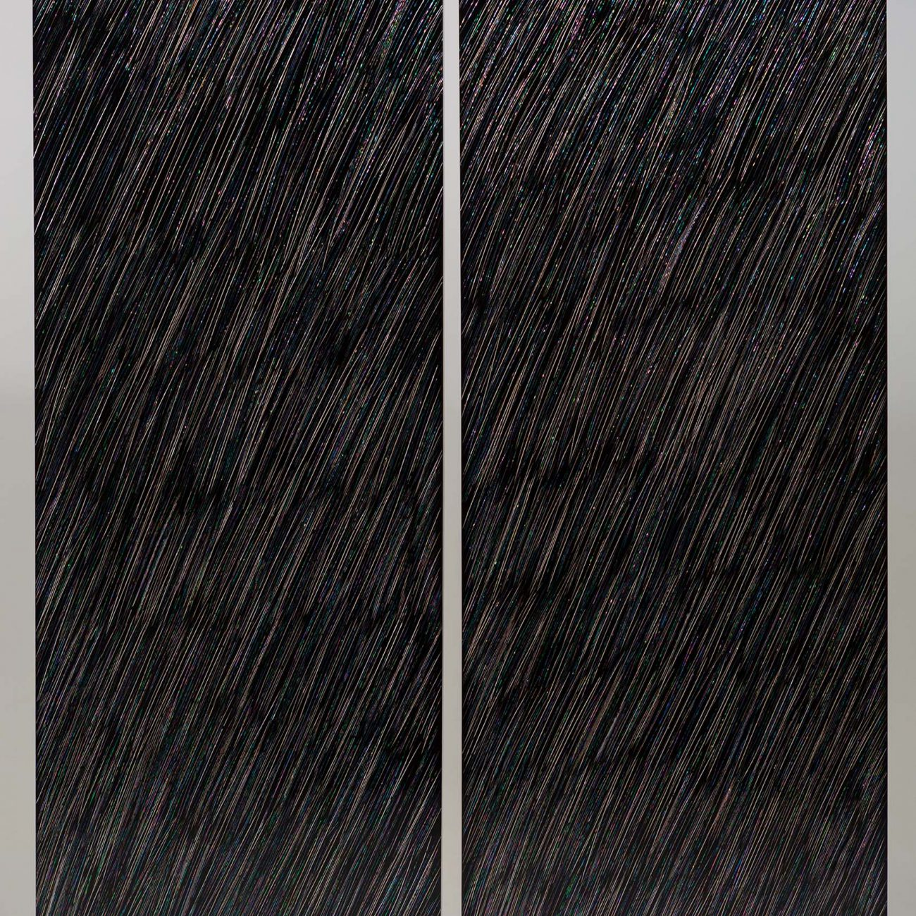202016 & 202017, mother-of-pearl, hemp cloth on wood, natural lacquer, 180x60 cm, 2020 by JEONG Zik-Seong